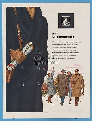 1948 Kuppenheimer Overcoat Football game Men's coat hat 1940's Fashion art ad