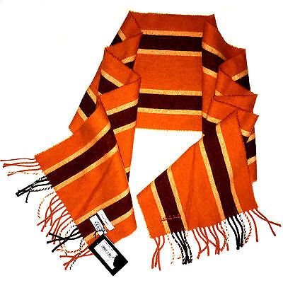 NEW MENs PAUL SMITH College Stripe Scarf Fringe Lambswool Made in Scotland Wool