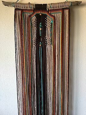Driftwood Macrame Wall Hanging, Rust, Gold, Turquoise, Southwestern, California