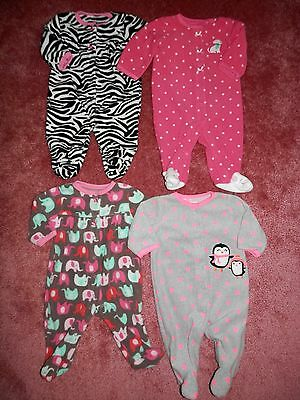 Lot Baby Girl One Piece Sleepers Sleep n Play Size 3 Months Carters