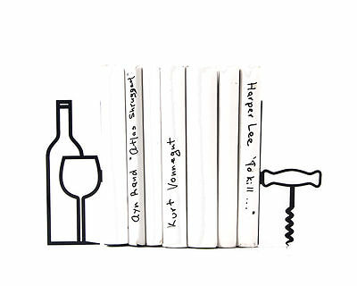 Atelier Article - Gift Steel bookends - More wine - less whine (Black)
