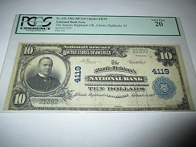 $10 1902 Atlantic Highlands New Jersey NJ National Currency Bank Note Bill #4119