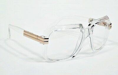 Classic Vintage Style Glasses Transparent Frame Gold Accent Clear Lens