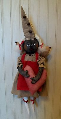 Primitive Grungy Black Fairy Angel Doll & Her Valentine's Heart