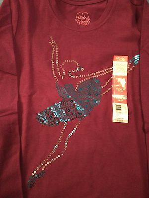 Faded Glory Long Sleeve Purple T-shirt  with Sequined Ballerina NWT Size 4-5