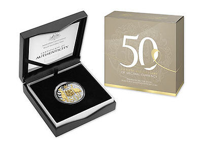 2016 Round 50 Cents Fine Silver Selectively Gold Plated Proof Coin
