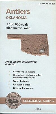 US Geological Survey topographic map metric ANTLERS Oklahoma 1985
