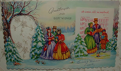 Peep Hole - 2 Full Images - Carolers, w/Mini Card - 40's Vintage Greeting Card
