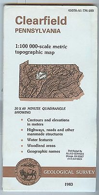 US Geological Survey topographic map metric CLEARFIELD Pennsylvania 1983