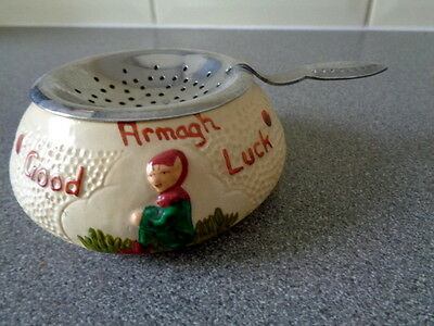 Vintage Manor Ware Tea Strainer Holder Good Luck Pixie Deco. Armagh Souvenir