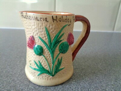Vintage Manor Ware Good Luck Thistle jug. Auchenlarie Holiday farm Souvenir