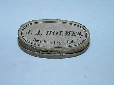 Antique Pill Tin-Box  J.A. Holmes Liver Pills Wooden Box