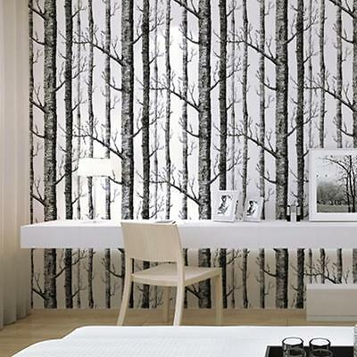 Forest Birch Tree Wallpaper Rustic Modern Wall Decal Roll Black White Woods