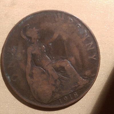 1918 English / British One Penny coin - @4
