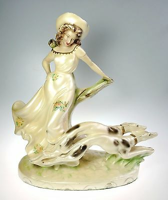 Art Deco Young Woman w Greyhound Dogs Large 14 In Chalkware Sculpture
