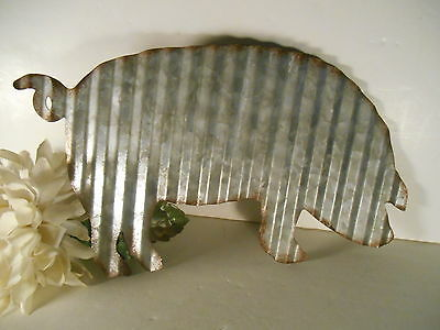Corrugated Pig Wall Hanging Metal Tin Vintage Style Rusted Edges Primitive
