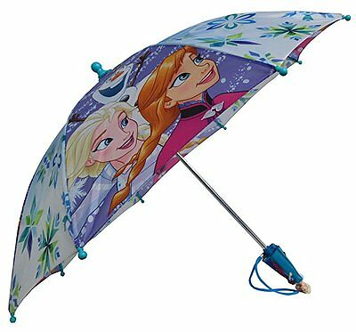 "Disney Frozen Elsa & Anna with Olaf Girls 21"" Umbrella w/Figurine Handle"