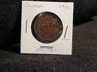 Canada :  1916  Large  Cent   George V   Coin  (Unc)  ( #137 )  Km # 21