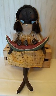 Primitive Grungy Black Girl Doll & Watermelon with Crows