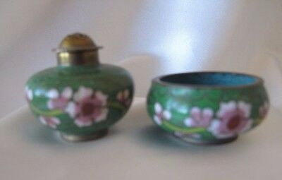 Cloisonne pair of small salt bowl and pepper shaker