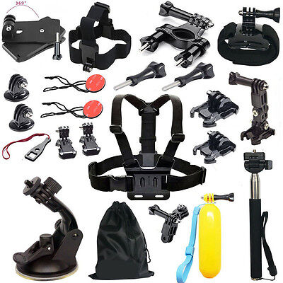 24in1 Head Chest Mount Floating Monopod Accessories Kit For GoPro 2 3 4 5 Camera