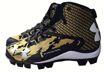 Under Armour Deception Baseball Mid Junior Cleats Size 5 Black/Gold - NEW