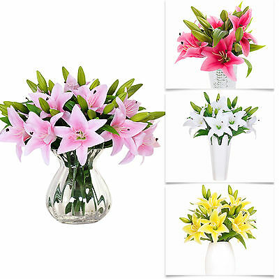 Hot Silk Flower Artificial Lilies Bouquet 10 Heads Home Wedding Floral Decor