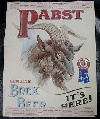 1960's Pabst Bock Beer Paper Window Sign - Milwaukee, WI