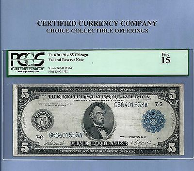 1914 $ 5 Chicago FR 870 Federal Reserve Note PCGS Fine 15 Sharp