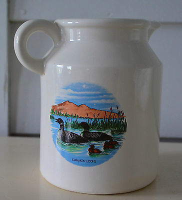 LOON PITCHER Lake Camp Cabin Rustic Lodge Decor Dishes MAINE Ice Tea LEMONADE !