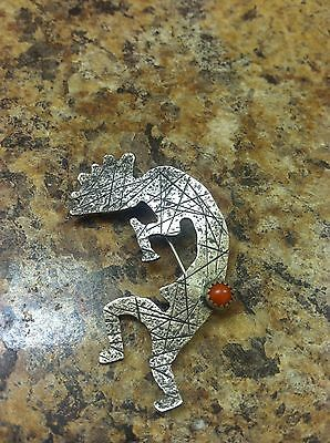 Sterling Kokopelli Red Coral Brooch Pin Signed