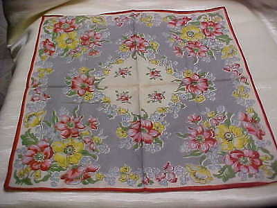 Vintage ladies Handkerchief Yellow Pink flower Design Printed Cotton material