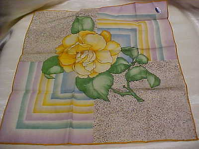 Vintage ladies Handkerchief Yellow Flower Design Printed Cotton material