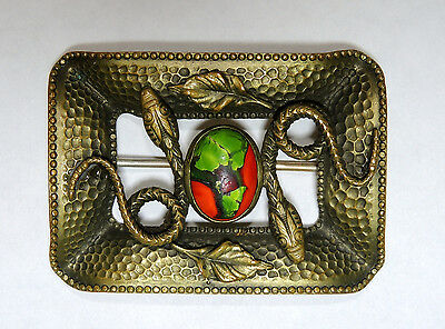 Victorian Sash Pin, Brooch, Snakes, Foiled Art Glass, Brass, Antique
