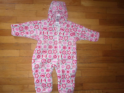 Columbia Infant 12 Month Fleece Bunting Pink Print Baby Girl Hooded One Piece
