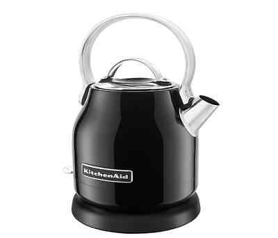 KitchenAid New Black Electric Water Tea Kettle Stainless Steel Body 1.25 Liter