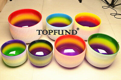 """Chakra Tuned Set of 7 Rainbow Frosted Quartz Crystal Singing Bowl All 8"""""""