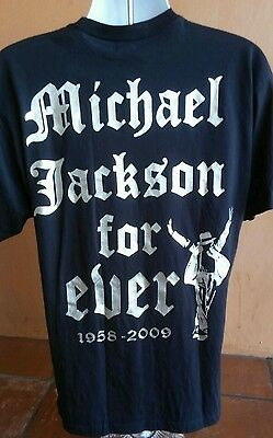 Michael Jackson Black T shirt (L) Forever Michael (1958 to 2009