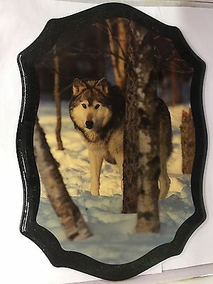 Decoupage On Wood Wolf In Snowy Woods Picture, 754-I