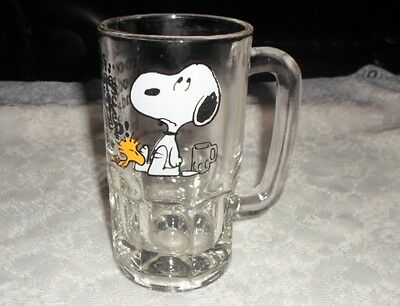 Snoopy Woodstock Root Beer Glass Mug Stein 1965 Peanuts Collectible Vintage