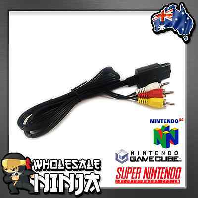 RCA AV Audio Video Composite Cable Cord for SUPER SNES GAMECUBE GC NINTENDO N64