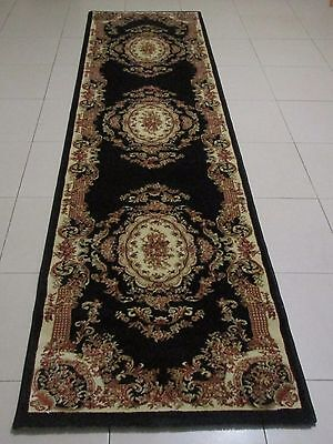 New Black Persian Design High Quality Heatset Floor Hallway Runner 80X300Cm