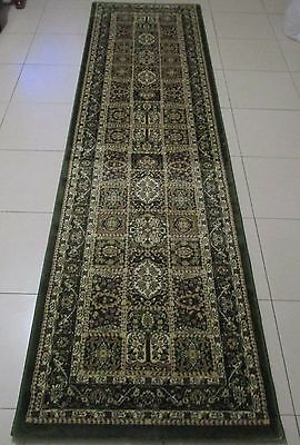 New Extra Long Green Persian Design Heatset Floor Hallway Runner 80X500Cm