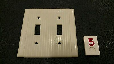 1 Vintage Bakelite Ivory Ribbed Deco Uniline Double Light Switch Plate Cover R5