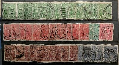 KGV Stamps - OS Mixture from Estate - card of 42 stamps