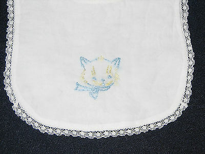 Vintage Embroidered Blue Kitty Cat Face on White Batiste Baby Bib Lace Trim