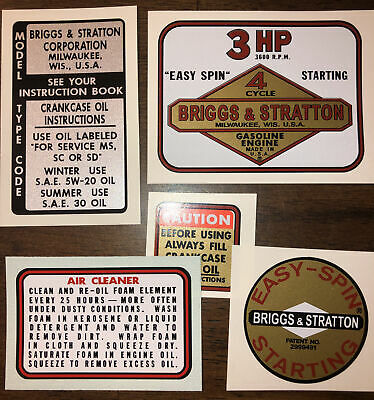 Briggs & Stratton Minibike label 3-hp old school, Set of 5