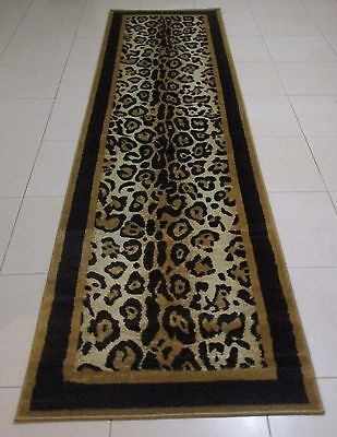 New Black/beige Animal Print Themed Floor Hallway Runner Rug 80X300Cm