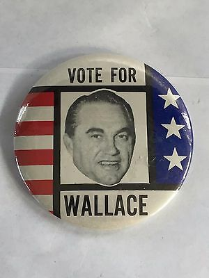 """Vintage Political Vote For Wallace Red White Blue Pin Back Button 3.5"""""""