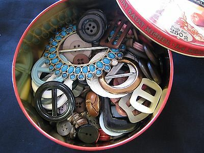Nanna's fudge tin of buttons and buckles... retro, collectible